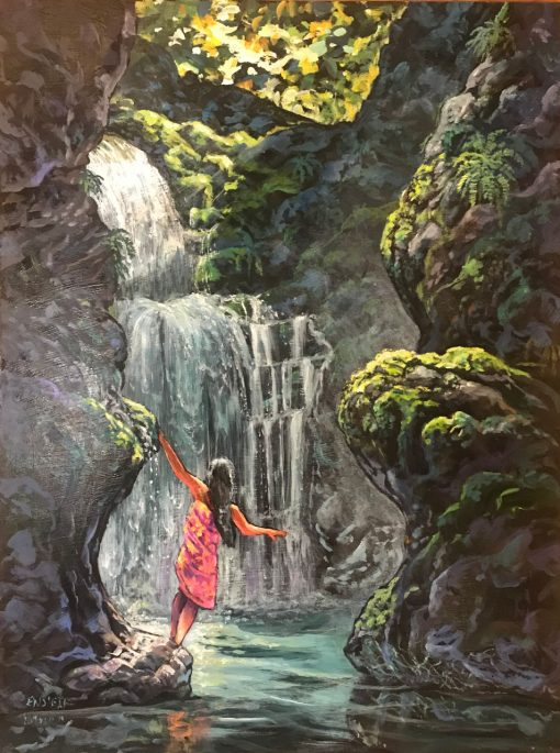 an original oil painting. A girl wearing a red and orange pareo gazes at a flowing waterfall surrounded by green trees and grey rocks