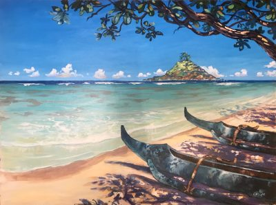 an original acrylic painting. Two blue canoes on shore under the shade of a tree. The beach is vacant and calm. The ocean is deep blue in the distance and teal closer to shore. A triangular shaped island pops out of the ocean on the right hand side.