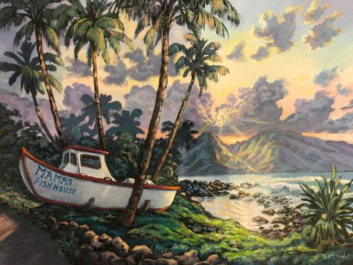 an original acrylic painting. The famous entrance of Mama's Fish House with a boat. Surrounded by palm trees. The sun is setting in the distance behind Maui's West Maui Mountains. Purple clouds.