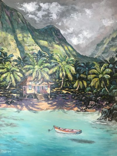 an original acrylic paining. A red and white boat floats on teal waters. A single house is on the beach shore. Palm trees surround the house. Lush, mountains in the distance.