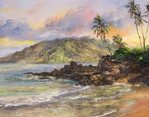 an original oil painting of Charley Young Beach, sunrise colors in the sky and reflection off the ocean.