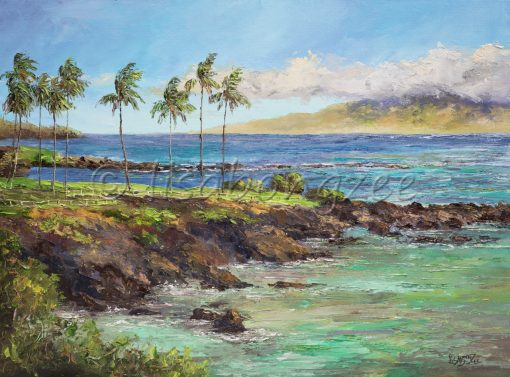 an original oil painting. Palm trees to the left, lining a rocky shored beach. An island in the distance. Deep blue and teal waters