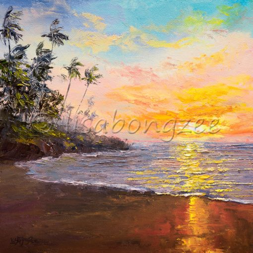 an original oil painting of a pastel colored sunset off the shore of a calm beach with purple water