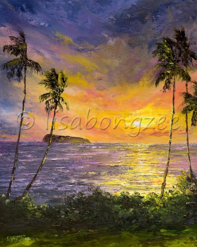 an original oil painting. The view from the south side of Maui, looking towards Molokini island, with a sunset off the coast. The sky is purple, orange, yellow and pink, reflecting off the ocean. Bushes and palm trees sprout from the bottom of the painting