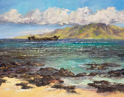 an original oil painting of Shipwreck beach, also called Kaiolohia. A lava rock lined beach with calm waters, an abandoned ship in the distance, as well as an island.