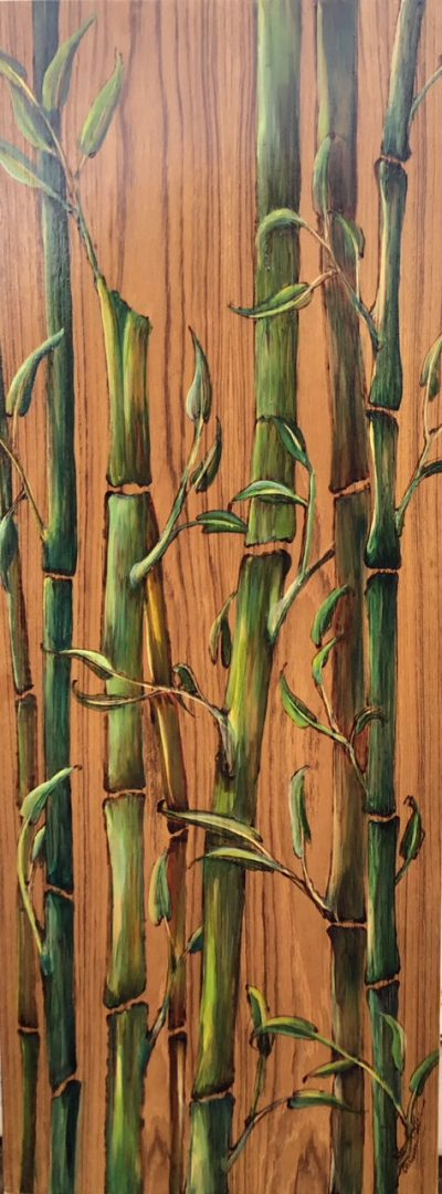 an oil painting of bamboo on a teak wood panel.