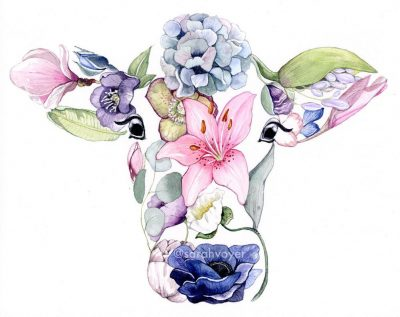 an 8x10 print of a cow face shaped figure. Filled in with various colorful pants and flowers.
