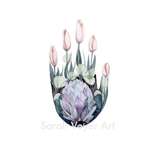 an 8x10 print of a hand shape, with a protea flower in the palm, and 5 purple tulips to resemble fingers