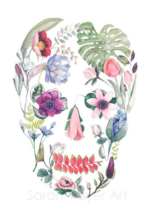 an 8x10 sized print by Sarah Voyer. The shape of a skull, filled in with various colorful flowers and plants. Made on Maui.
