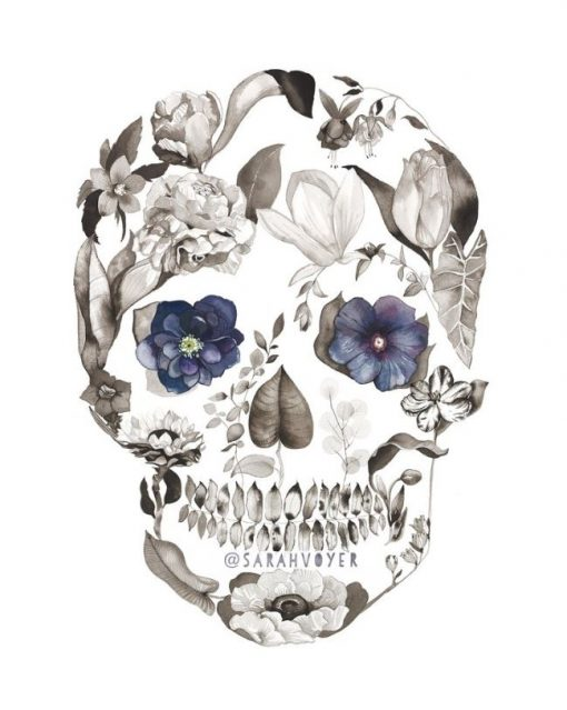 a print of a skull shaped figure, filled in with various local flowers and plans, all black and white, and two blueish hellebore flowers in the position of the eyes