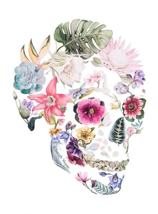 a print of a skull shaped figure. Filled in with various local plants and flowers. Hibiscus flowers make up the eyes.