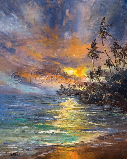 an original oil painting of a sunset off a calm ocean. The sky is deep, dark colors - purple, dark blue, with orange and yellow. A shore to the right of the painting is lined with palm trees, dark from the evening shadow.