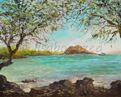an original oil painting of Makena Landing, on the south side of Maui. A lava rock lined beach, with calm waters, and a part of Maui in the distance. Trees line the shore of the beach.