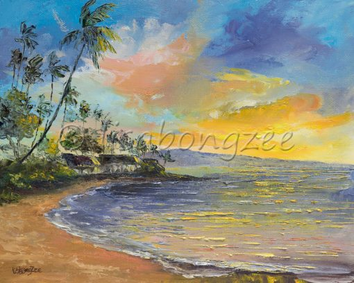 an original oil painting of the view of sunset from Napili Bay. The sky is a rich blue with yellows and some pinks. Colors reflect off the ocean.
