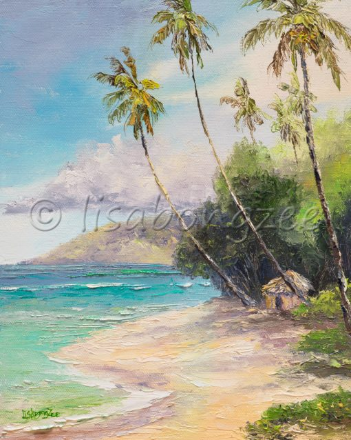 an original oil painting of a small hut, nestled between two palm trees on a sandy shored beach. An island in the distance