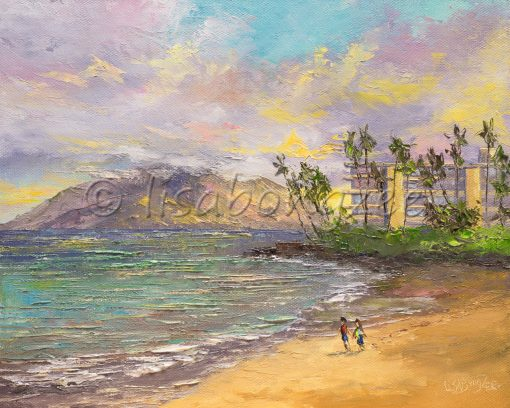 an original oil painting. The view from Keawakapu beach on Maui, looking right. You can see the west side of Maui in the distance and two people on the beach. Morning sunrise colors reflect off the ocean.