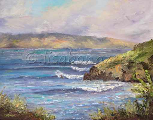 an original oil painting of waves rolling into Honolua Bay on the west side of Maui.