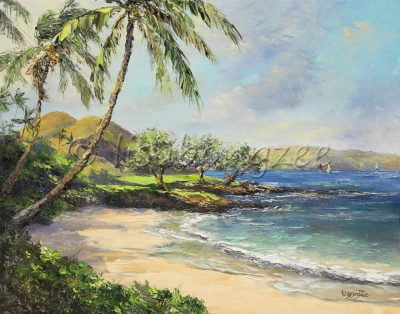 an original oil painting of Maluaka Beach on Maui. Calm waters and clear skies.