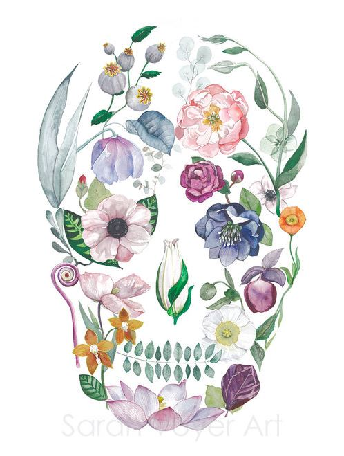 a print of a skull shaped figure filled in with various colorful local flowers and plants. A equcalyptus stem makes up the mouth shape.
