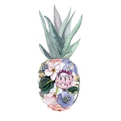 a print of a pineapple shaped figure, filled in with colorful plants and flowers local to Hawaii.