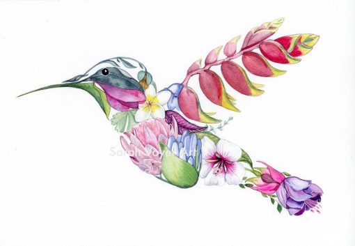 a print of a hummingbird shape, filled in with various local plants and flowers.