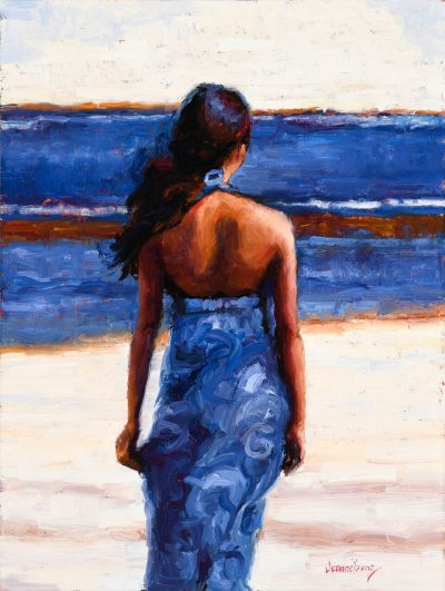 Azure Aloha by Jeanne Young. Painted on Maui by Local oil painter. A woman standing near the ocean, wearing a vibrant royal blue dress.