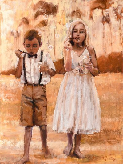 an original oil painting of a boy and a girl on a beach, blowing bubbles. Dressed in Nice clothes. Sepia tones