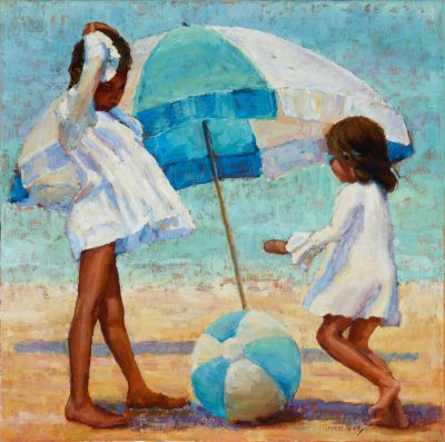 original oil painting of two girls on a beach. A blue and white umbrella and beach ball