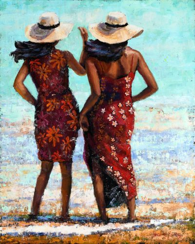 an original oil painting. Two women wearing red aloha dresses and hats, standing with their feet in the ocean.