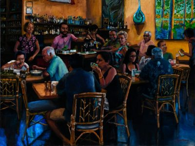 an original oil painting of the inside of the restaurant, Hali'imaile General Store, on Maui.