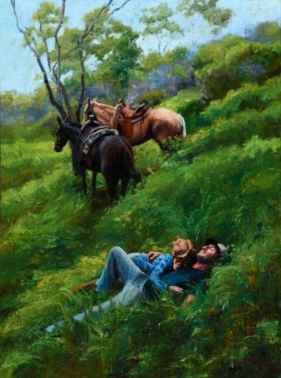 Country Romance by Jeanne Young. Painted on Maui by Local oil painter. A couple lying in a lush green field of grass, with their horses tied to a tree behind them.