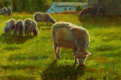 an original oil painting. A pasture with sheep grazing.