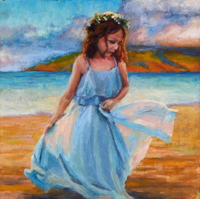 an original oil painting. A young girl in a blue dress, wearing a head lei on a beach at dawn. The West Maui Mountains are visible in the distance.
