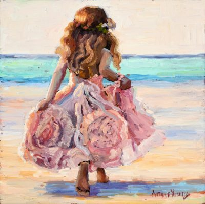 an original oil painting of a little blonde girl running on a beach with a pink dress.