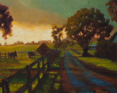 Horse Xing by Jeanne Young. Painted on Maui by Local oil painter. A pasture and road at sunset time, with a horse crossing sign to the left.