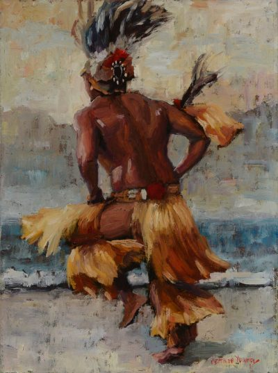 an original oil painting. A male Tahitian hula dancer in action. Wearing hula attire. he is facing backwards and his left leg is bent, mid motion.