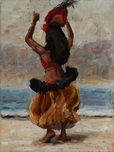 an original oil painting. A female Hula Dancer in action. She is facing backwards, dancing with her hands in the air. She is wearing Tahitian attire with a head piece.