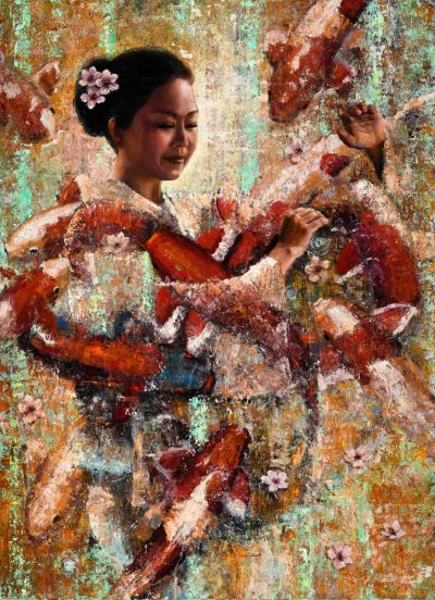 an original oil painting. A Japanese Dancer, surrounded by many orange and white Koi fish, and cherry blossom flowers.