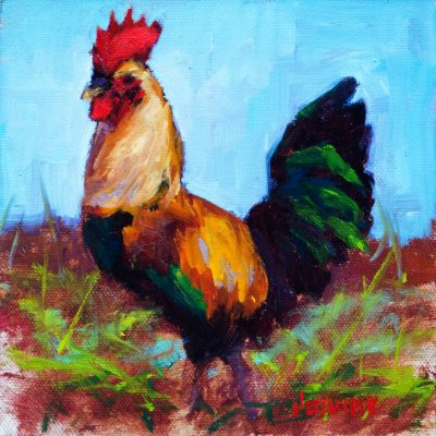 an original oil painting. The profile of a colorful rooster, standing on a grassy field.