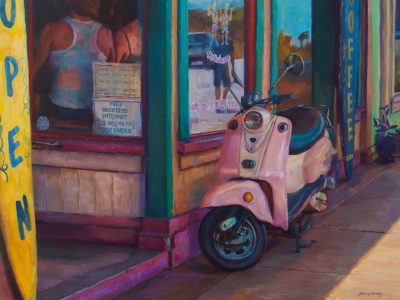 Island Coffee by Jeanne Young. Painted on Maui by Local oil painter. A pink scooter propped up against a local coffee shop.