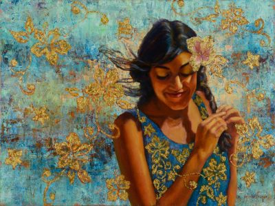 an original oil and mixed media painting by Jeanne Young. A local girl holds her braid white her hair blows in the wind. Gold hibiscus flowers float around her and one is placed behind her ear. She is looking down. Turquoise dress and background.