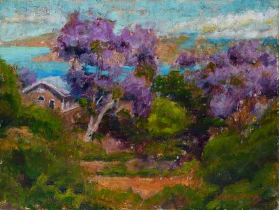 an original oil painting. Two tall Jacaranda trees, with vibrant purple hues, near a house by the ocean.