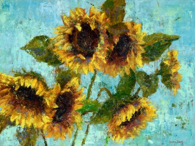 an original oil painting of six vibrant sunflowers against a teal background.