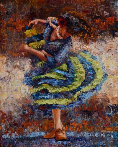 an original oil painting of a tango dancer in a green and blue dress. Dance in action. Abstract background