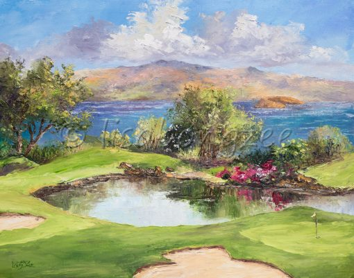 an original oil painting of the 17th hole at Wailea's Emerald Green Golf Course.