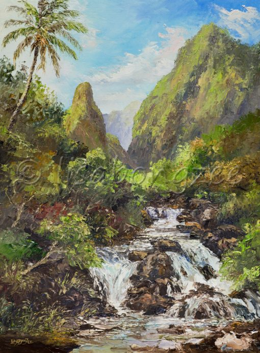 an original oil painting of Iao valley. The historic Iao Needle is visible beyond a flowing stream.