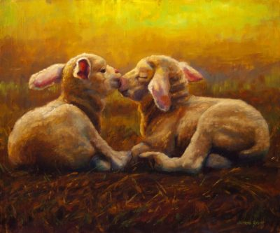 an original oil painting. Two baby lams laying down next to each other, noes touching and eyes closed.