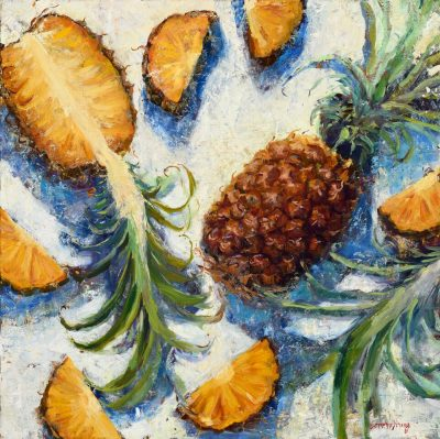 an original oil painting. A whole pineapple, and many slices of yellow pineapple, laid out on a white surface.