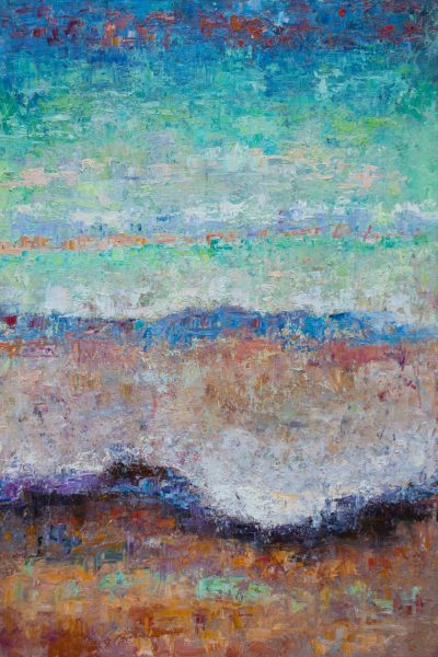 an original oil painting by Jeanne Young. An abstract wave rolling onto shore. Various hues of blue incorporated.