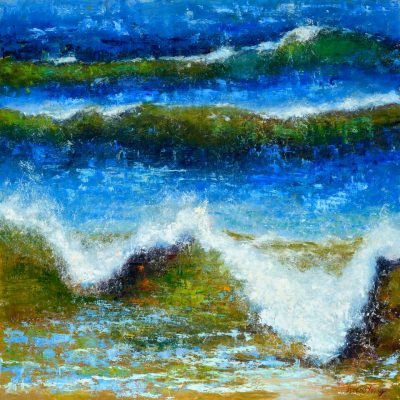 an original oil painting. Rolling waves of green and blue colors.